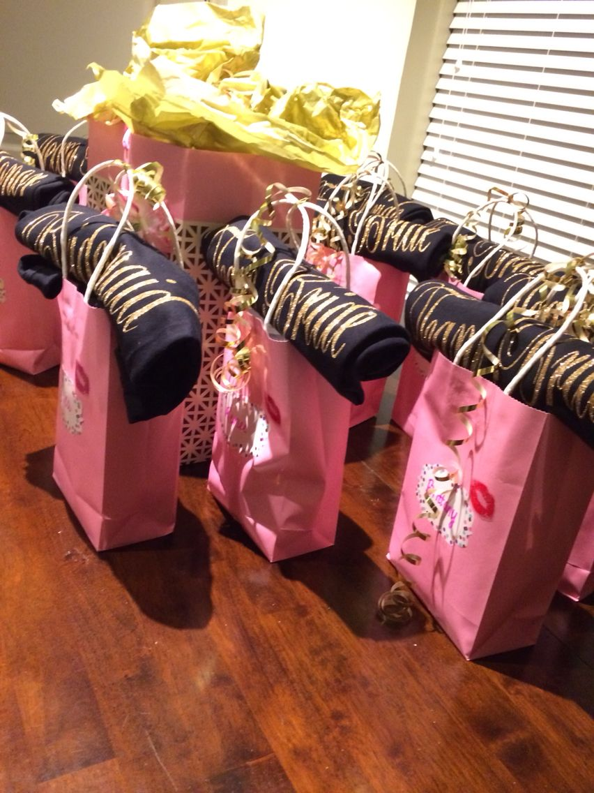 bachelorette party welcome bags and hangover kits! shirts ordered