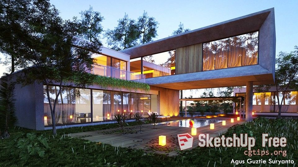 1427 Exterior House Sketchup Model Free Download | Sketchup