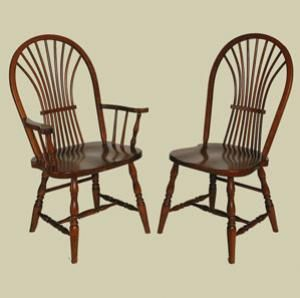 Amish Heritage Wheat Sheaf Windsor Arm Chair Shown Left In Cherry