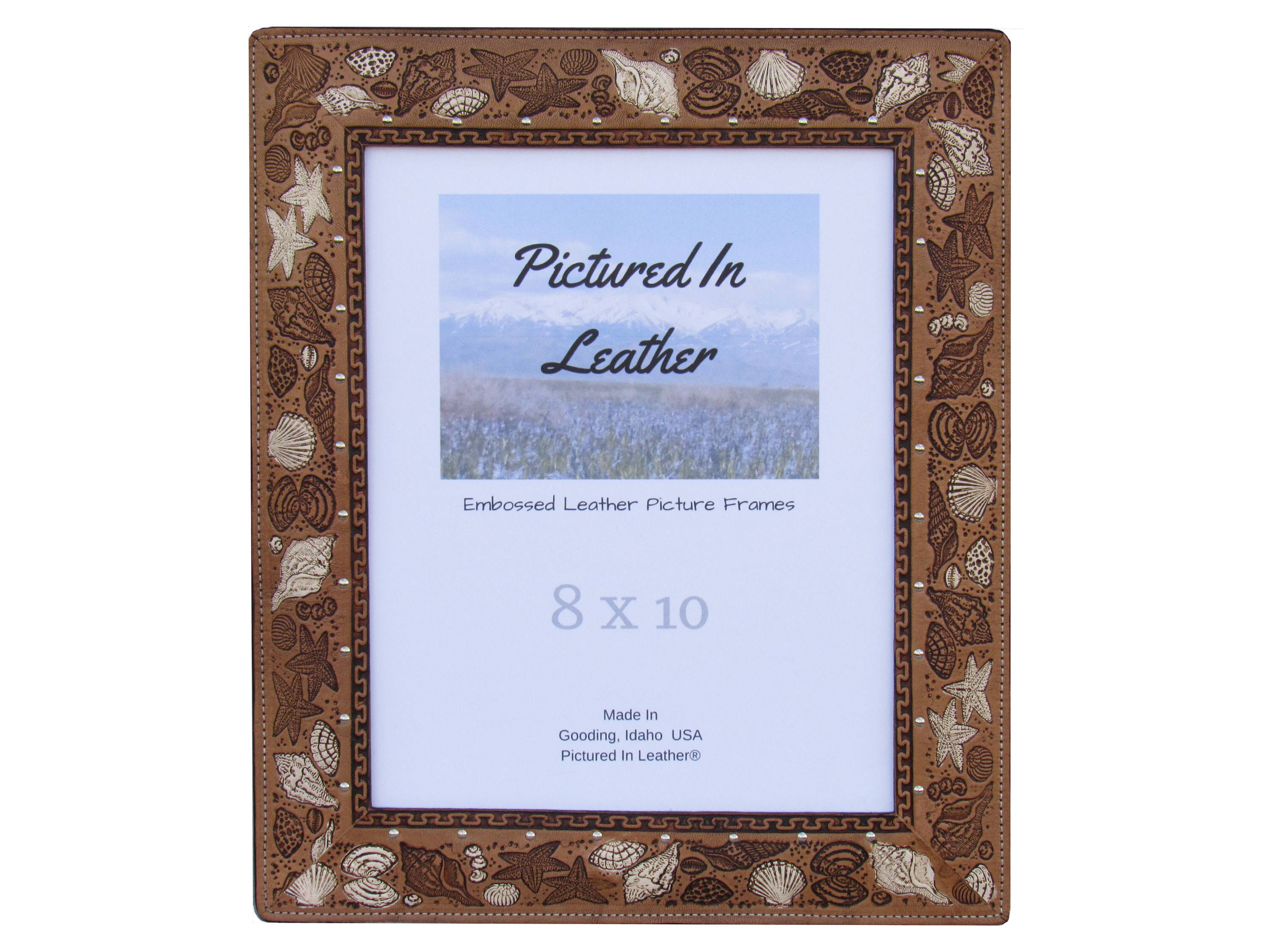 8x10 Leather picture frame, 8x10 beach picture frame, seashell ...