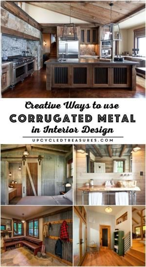 Creative Ways to use Corrugated Metal in Interior Design. UpcycledTreasures.com by sherry