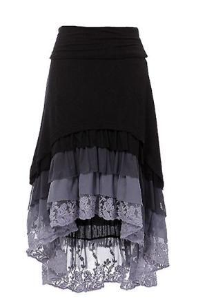 Ruffle Hi-Low skirt High-low hem layered ruffle skirt with fold over waist band. by SheriDiane