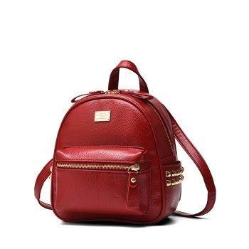 c37759fab15  AdoreWe  DressLily Womens - Dresslily Metal Rivets PU Leather Backpack -  AdoreWe.com. Red BackpackBackpack BagsBackpack OnlineWine ...