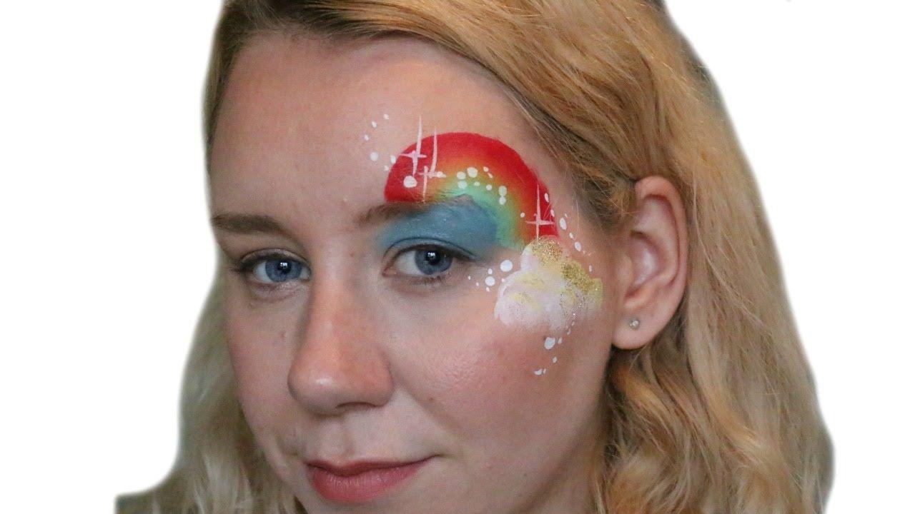 Rainbow Cloud Face Paint Eye Design
