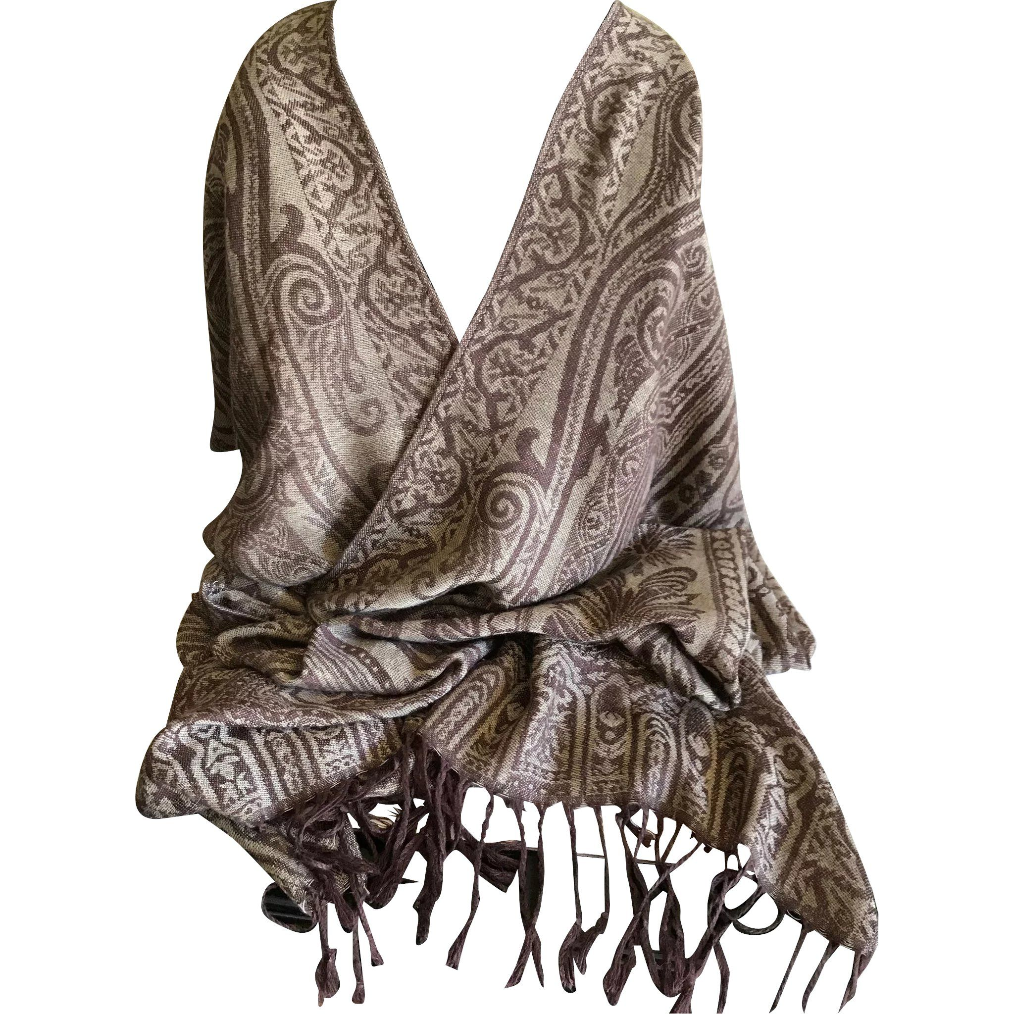 abb6b0230a3 Vintage Cashmere Pashmina Wrap Shawl Scarf in Chocolate and Taupe at ...