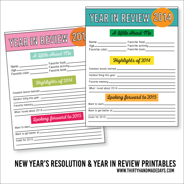 Printable New Year\'s Resolutions for Kids 2015 | Free printables ...