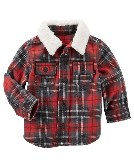 ff7c4c991d41 Baby Boy Jersey-Lined Plaid Shirt Jacket from OshKosh B gosh. Shop ...