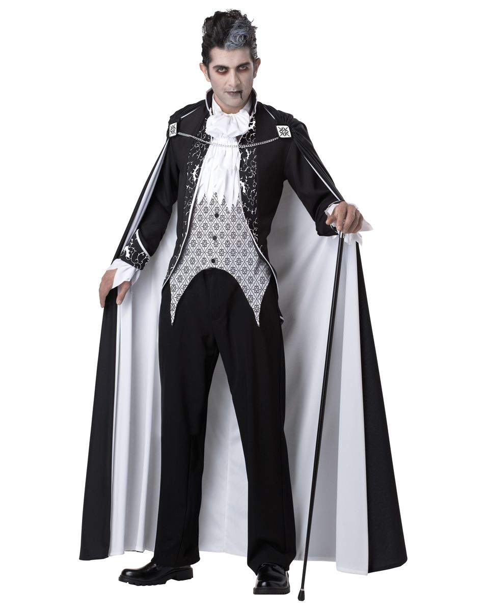 royal vampire adult menu0027s costume make your mark on halloween when you arrive in this handsome black and white adult menu0027s royal vampire costume and make