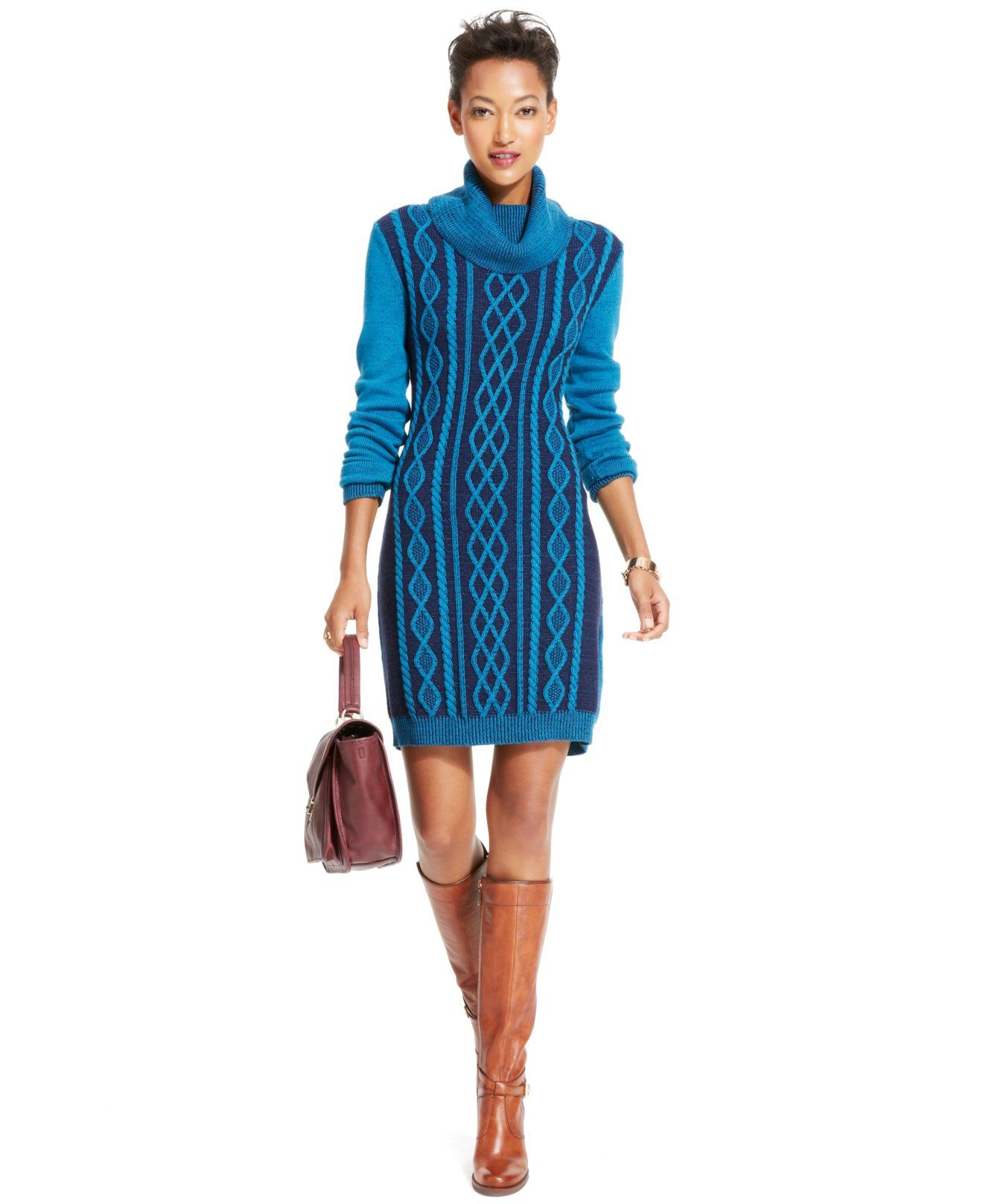 Tommy Hilfiger Cable-Knit Cowl-Neck Sweaterdress - Tommy Hilfiger - Women - Macy's