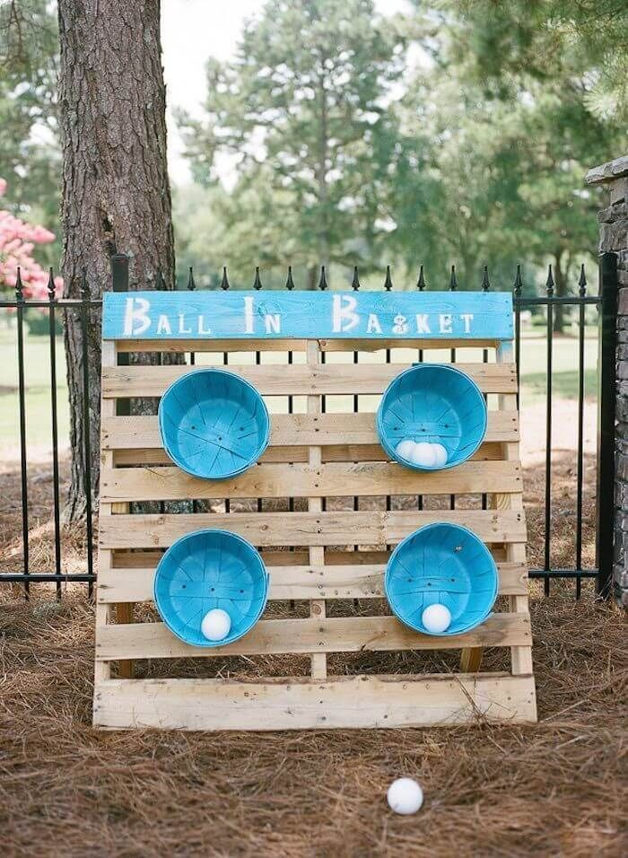 DIY backyard Ball Toss! This is such an easy game to throw together on a budget …