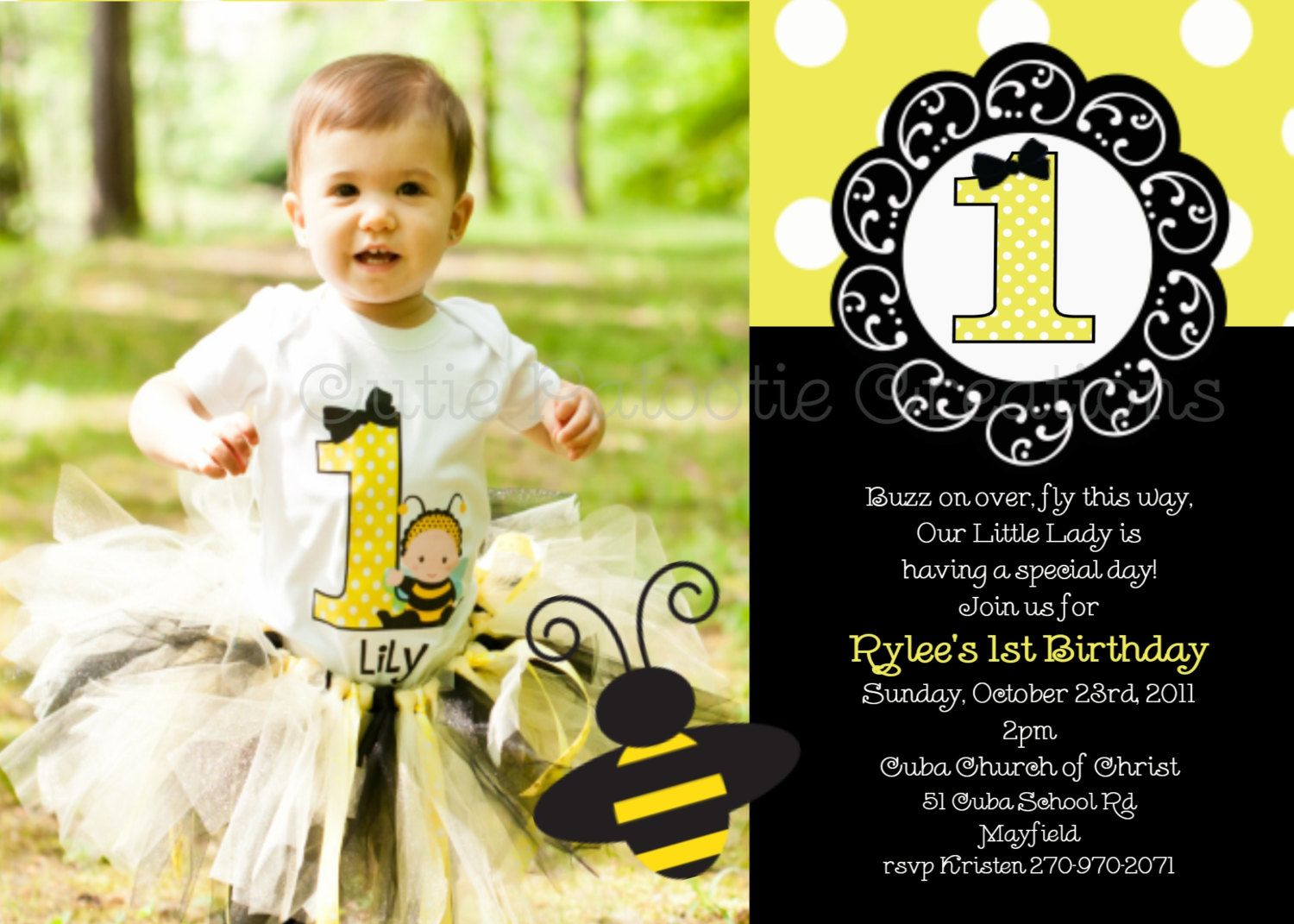 Bumble Bee Birthday Party Invitations Invitation Invites Printable Digital Photo