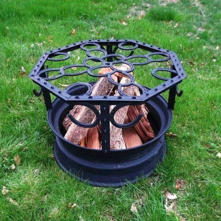 Handmade fire pit....old tire rim, horse shoes, and a few flat rods - Handmade Fire Pit....old Tire Rim, Horse Shoes, And A Few Flat Rods