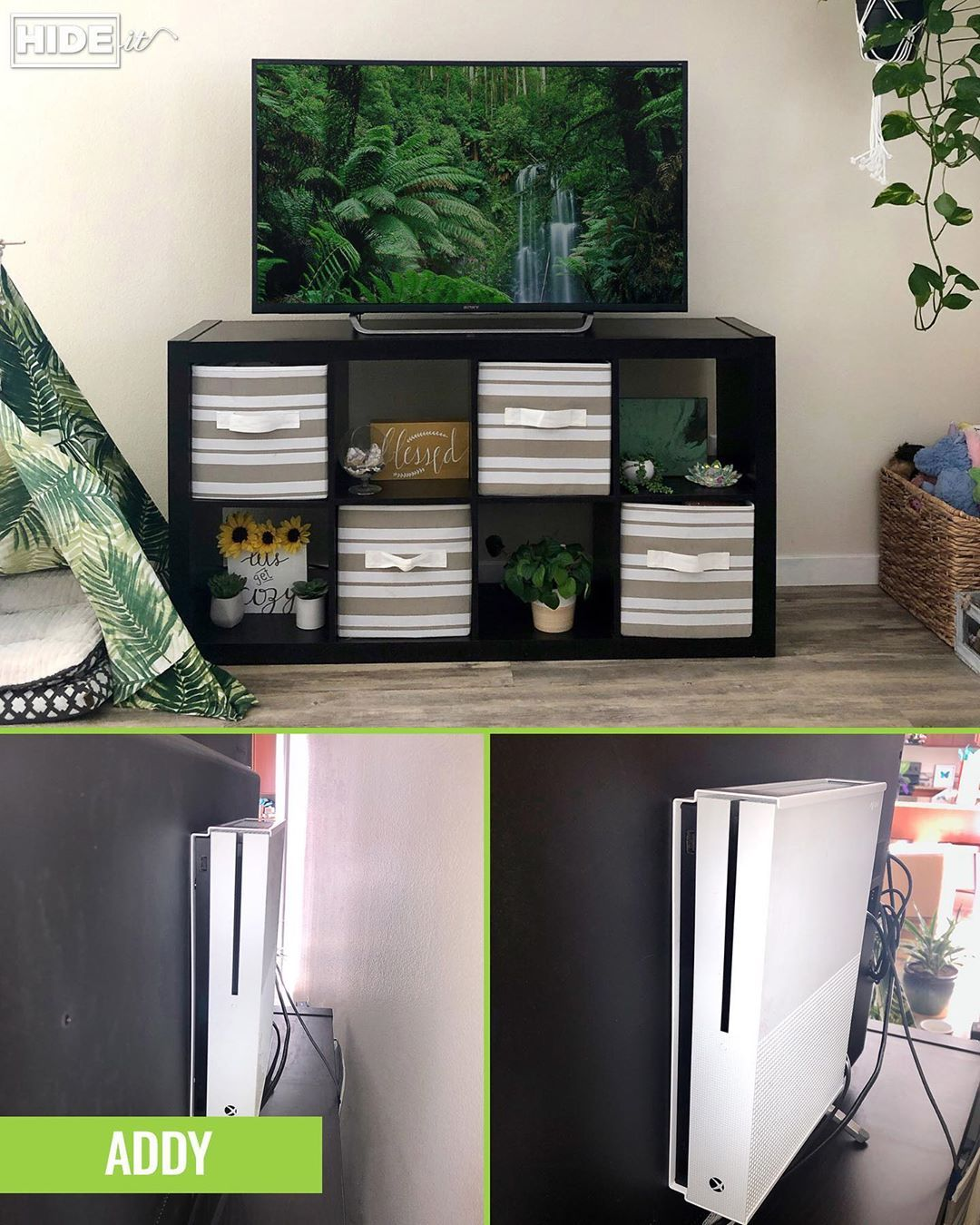 I used to store my Xbox in a shelf below my TV and it