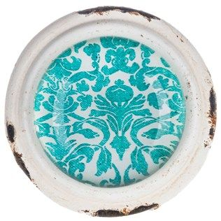 White Pewter Knob with Turquoise Damask Center top knob ideas for dinning chairs
