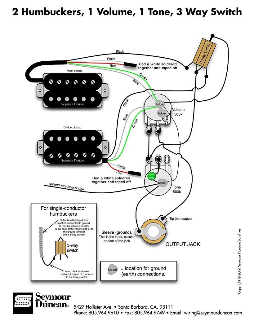 Humbucker Volume Tone Wiring Diagrams on 2 tone 1 volume bass diagram, humbucker pickup wiring diagram, toggle with 1 pickup wiring diagram,