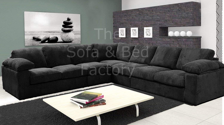 Ruxley Large Fabric 7 Seater Corner Sofa 3 Corner 3 Black 3