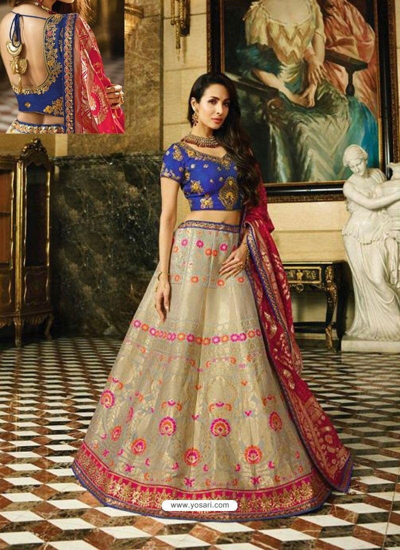 d7cfd7111c3 Navy And Multi Banarasi Silk Heavy Embroidered Designer Lehenga Choli