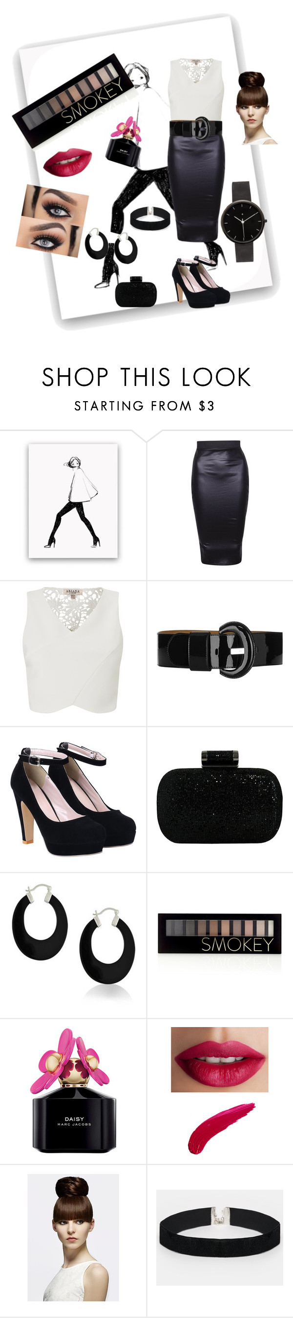 """""""Monochrome Beauty"""" by alexia98fanfan ❤ liked on Polyvore featuring Lipsy, Karen Millen, JNB, Bling Jewelry, Forever 21, Marc Jacobs, TheBalm, ASOS and I Love Ugly"""