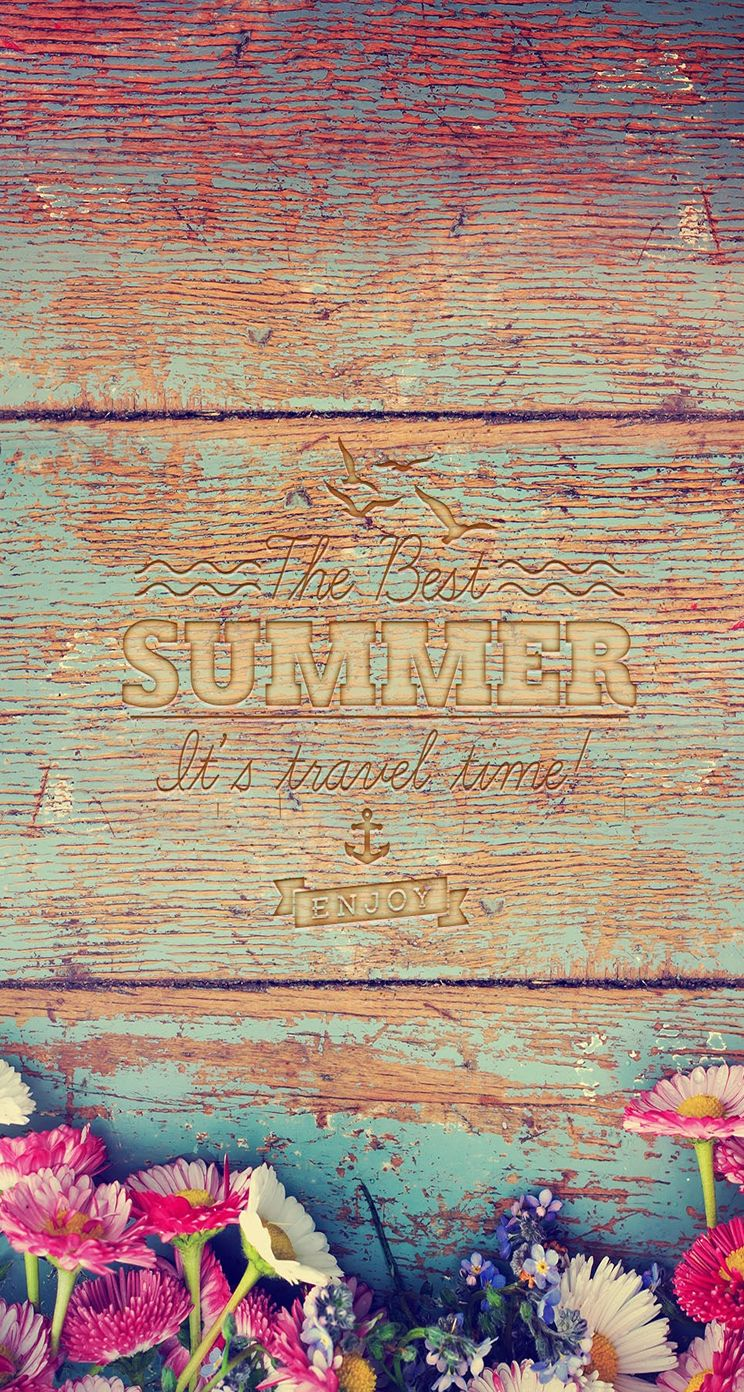 Clean Wooden Summer Typography Iphone Wallpapers