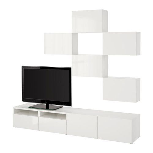 BESTÅ TV storage combination - white/Selsviken high-gloss/white, drawer runner, soft-closing - IKEA