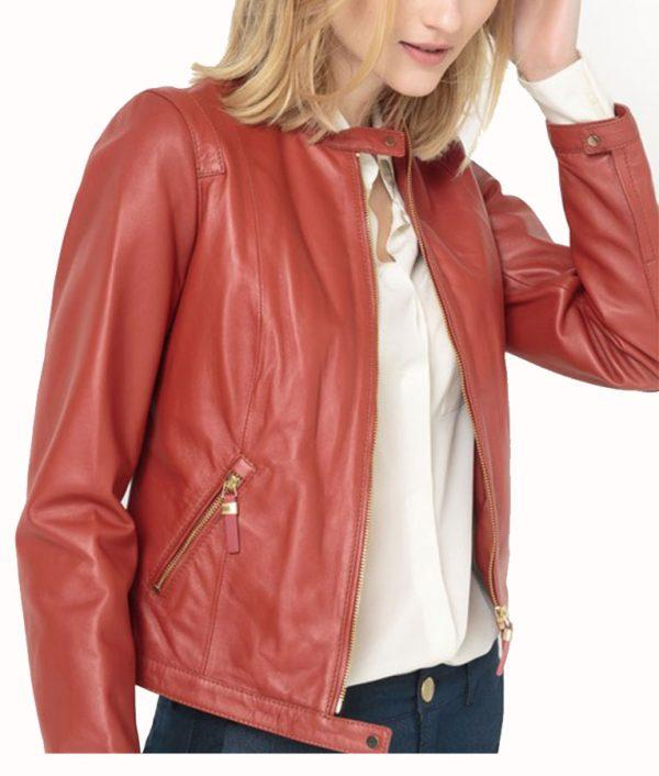 Womens Brick Red Lambskin Leather Bomber Jacket in 2020