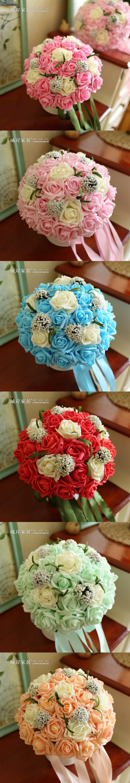 Red Pink Blue Purple Mint Green Wedding Flowers Cheap Bridal