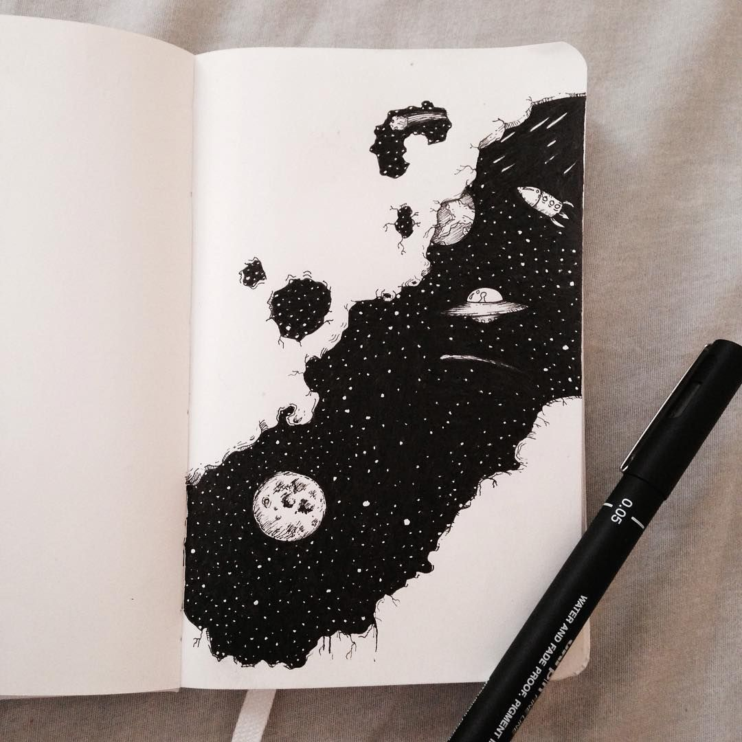 """Cil Flores on Instagram: """"A glimpse into space---moleskine doodle inspired by the works of Kerby Rosanes  #doodleart #illustration #doodle #art #drawing…"""" #spacedrawings A glimpse into space---moleskine doodle inspired by the works of Kerby Rosanes  #doodleart #illustration #doodle #art #drawing #moleskineart #moleskine #WIP"""