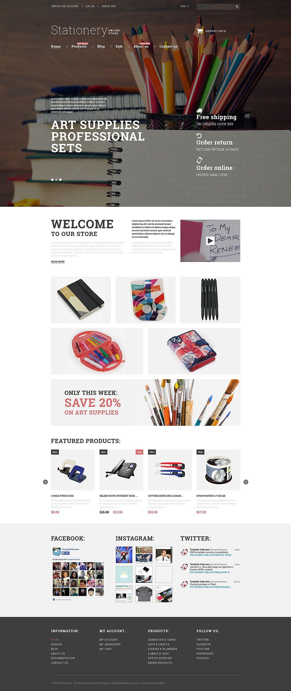 Get Creative With These Awesome Art Supplies Stationery Store Shopify Themes Buildify Stationery Websites Shopify Theme Stationery Store