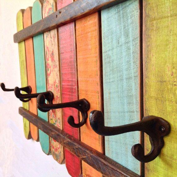 Rustic coat rack wall art handmade reclaimed wood wood - Percheros de madera rusticos ...
