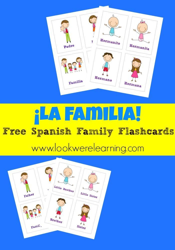 image about Free Printable Spanish Flashcards named No cost Printable Flashcards: Spanish Loved ones Flashcards