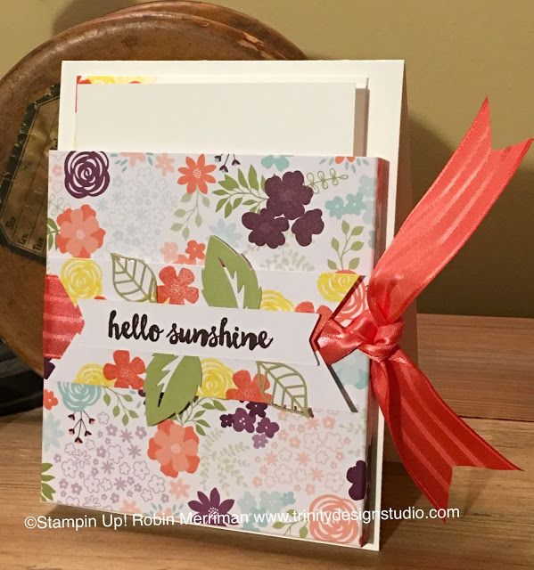 Hello Sunshine Note Card Holder Free Tutorial Note Cards Paper Crafts Stampin Up Cards