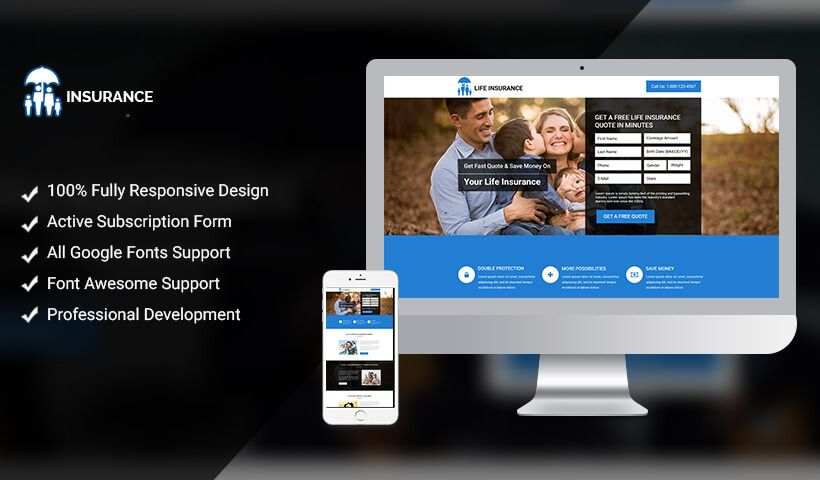 Life Insurance Landing Page Design Template To Boost Your
