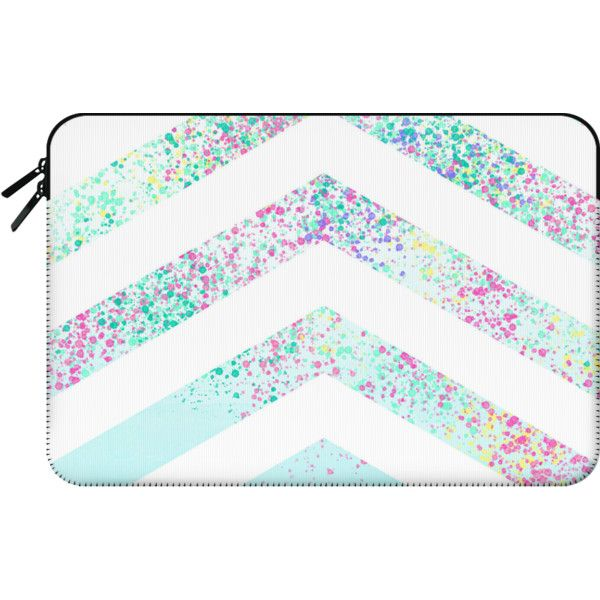 Modern pastel paint splatters teal ombre chevron pattern by Girly... found on Polyvore featuring accessories, tech accessories, bags, electronics and macbook sleeve
