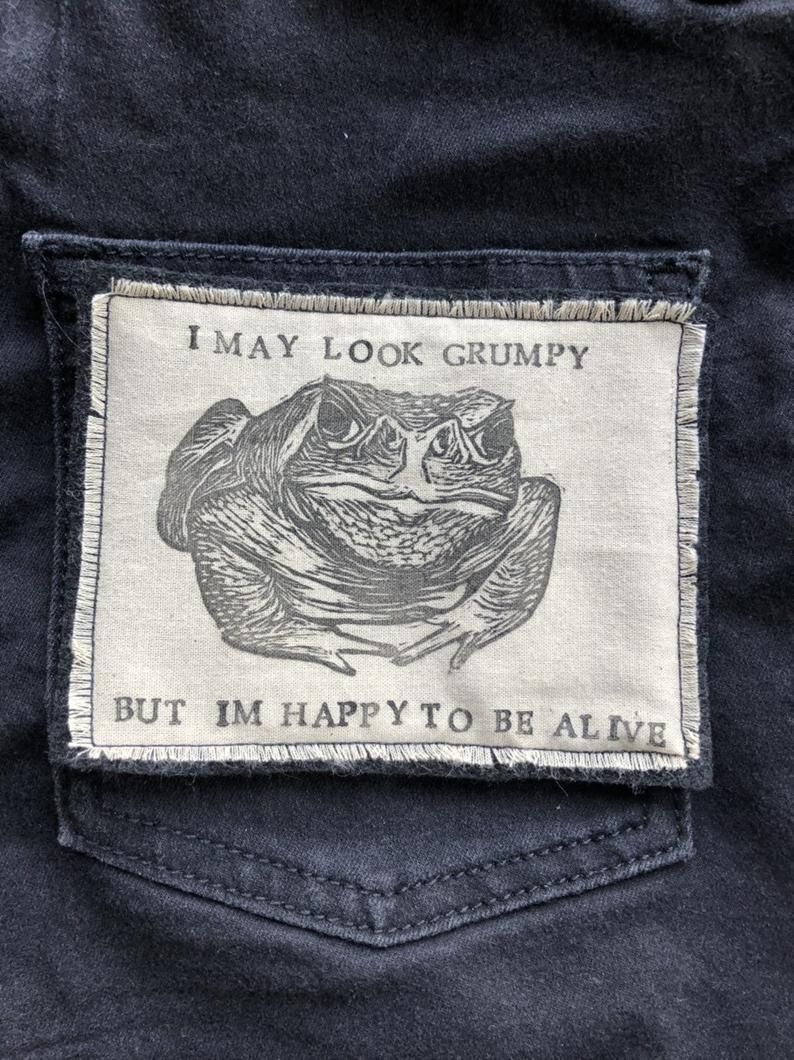 Handmade Iron On Patch Toad Patch