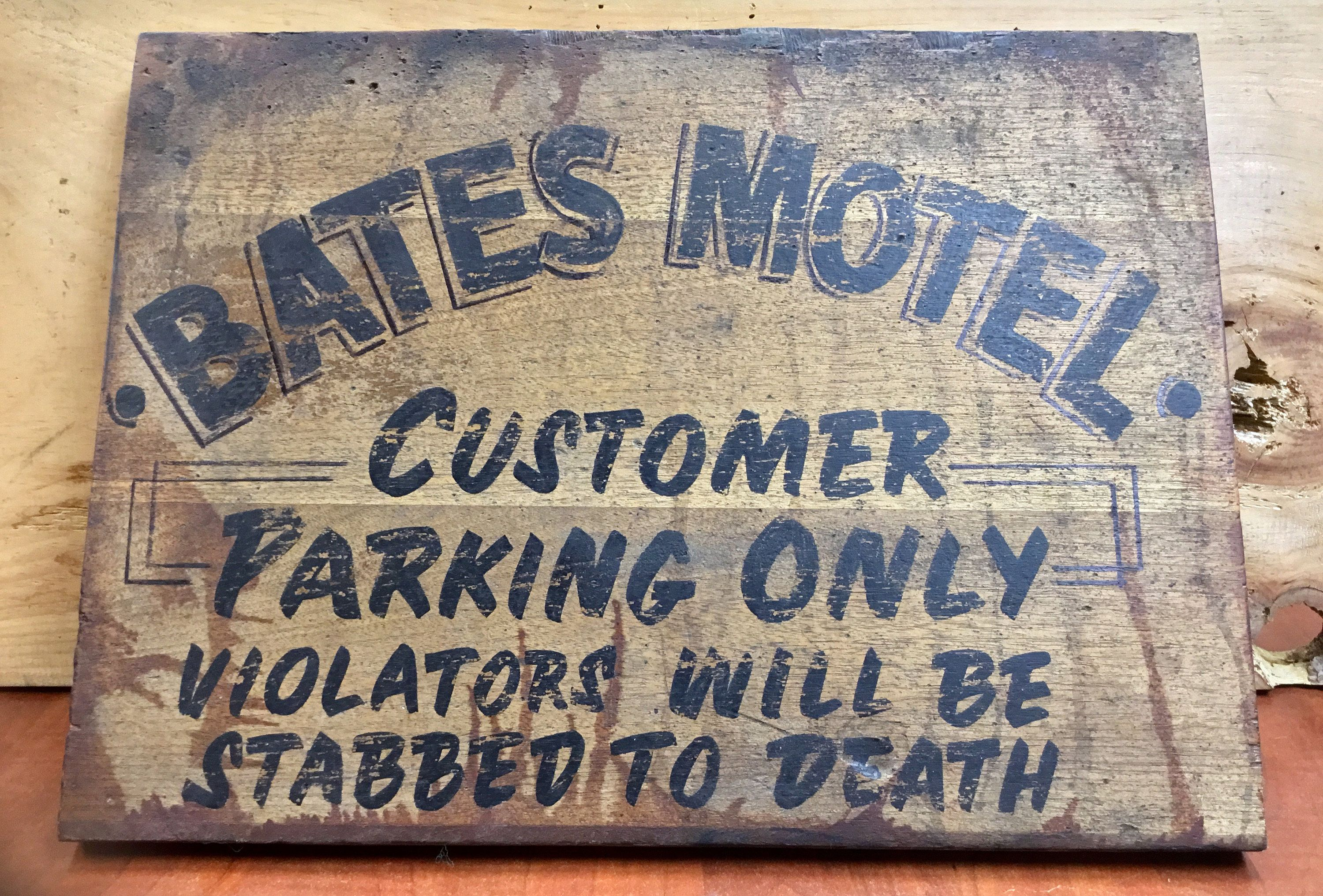Bates Motel Aged Hand Lettered Sign Parking signs, Hand