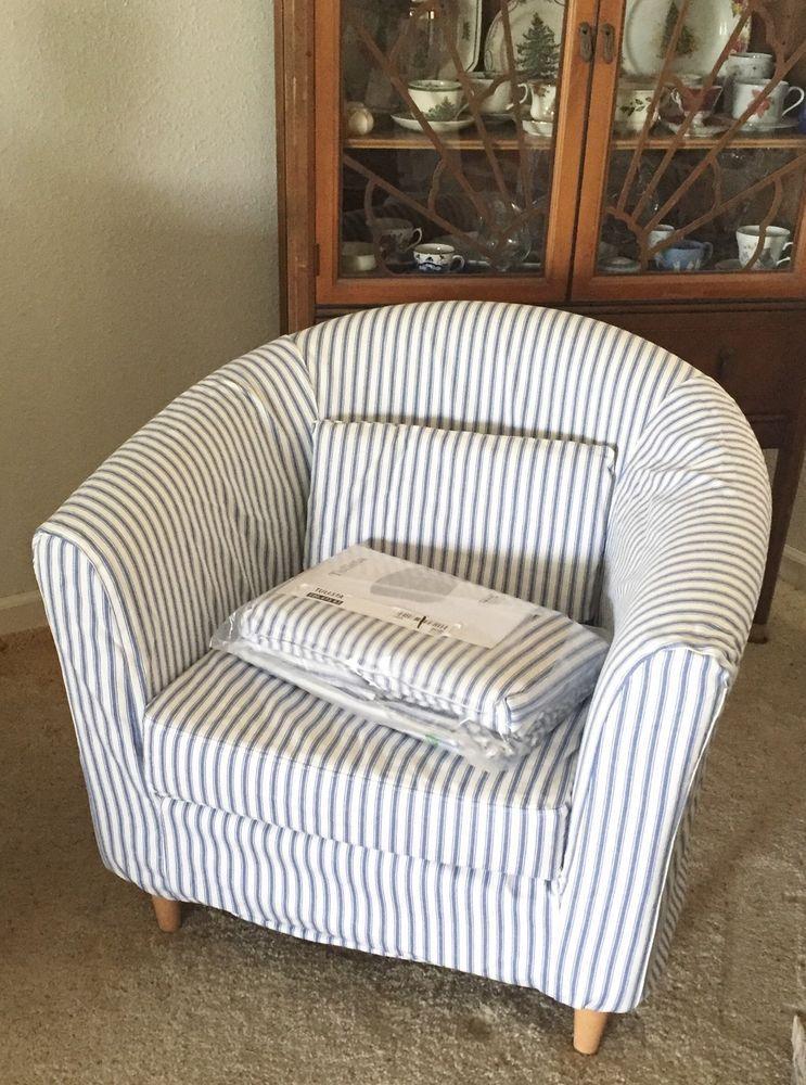 Ikea Rp Tullsta Chair Slipcover Cover Blue White Stripe New Beachy Ebay