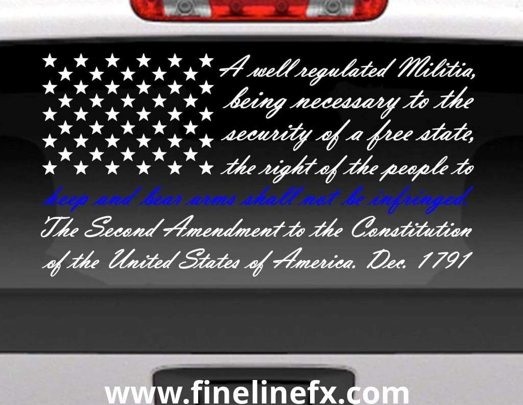 Second Amendment American Flag With Blue Line For Police Support