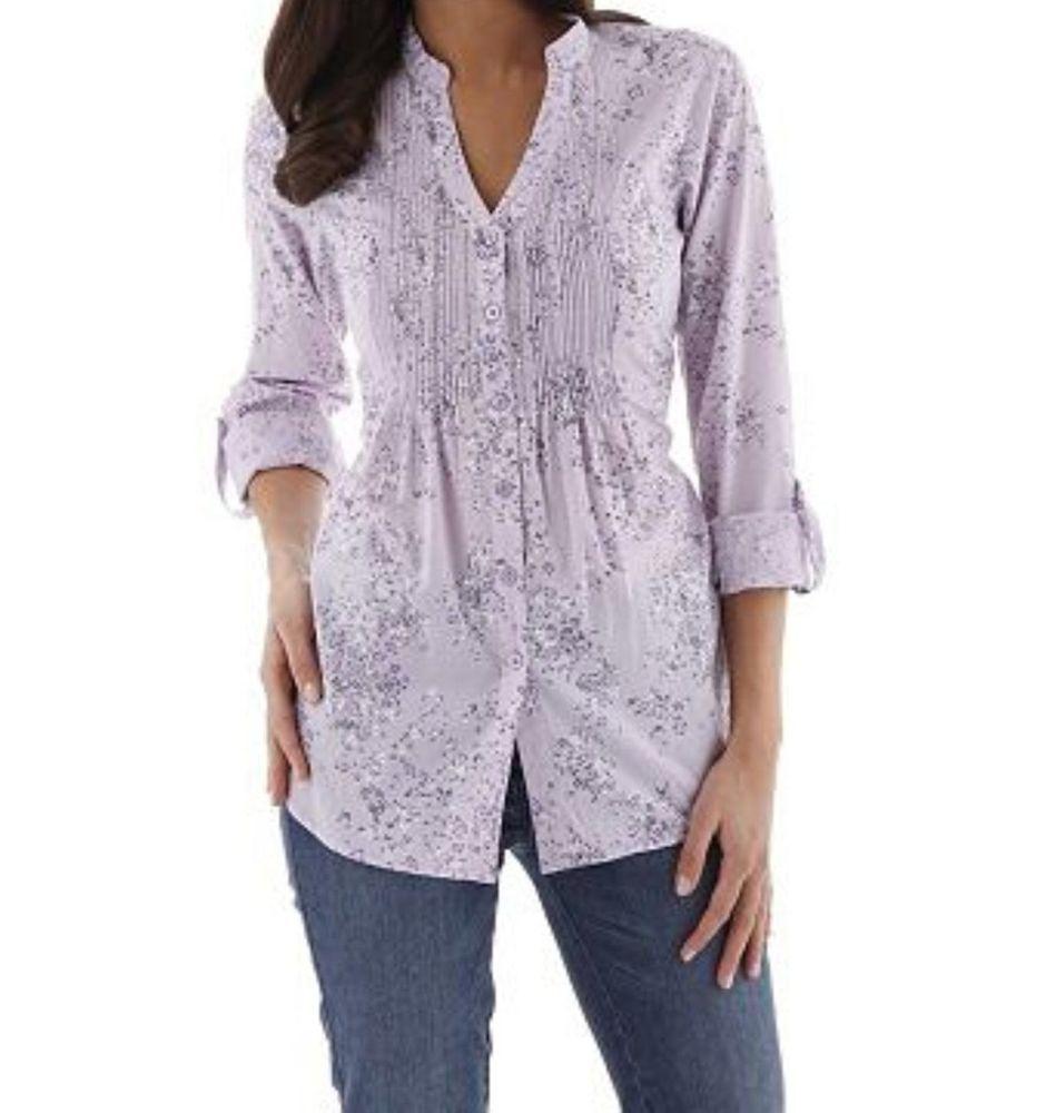 Bluse von Cheer mit Blütendruck sommerlich leichter Baumwolle Gr.34 Lila-Flieder