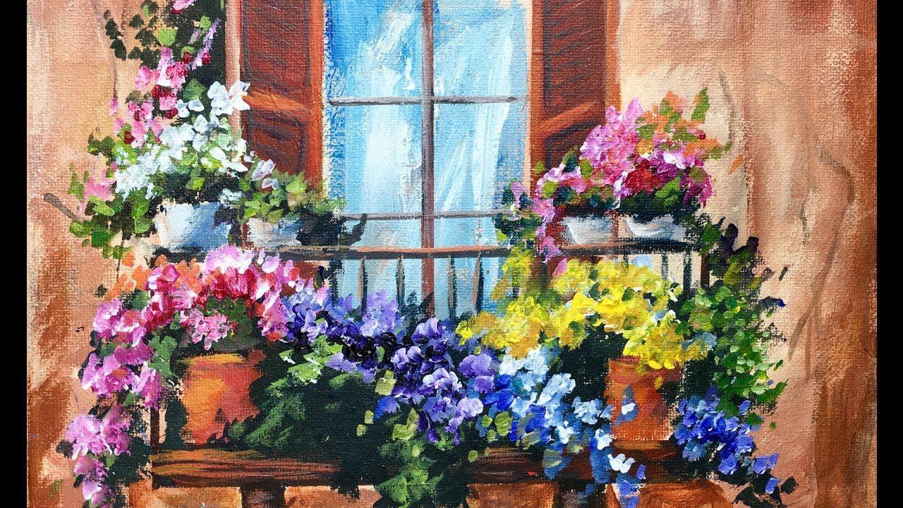Flowers in the Window on a Balcony Beginner Acrylic ...