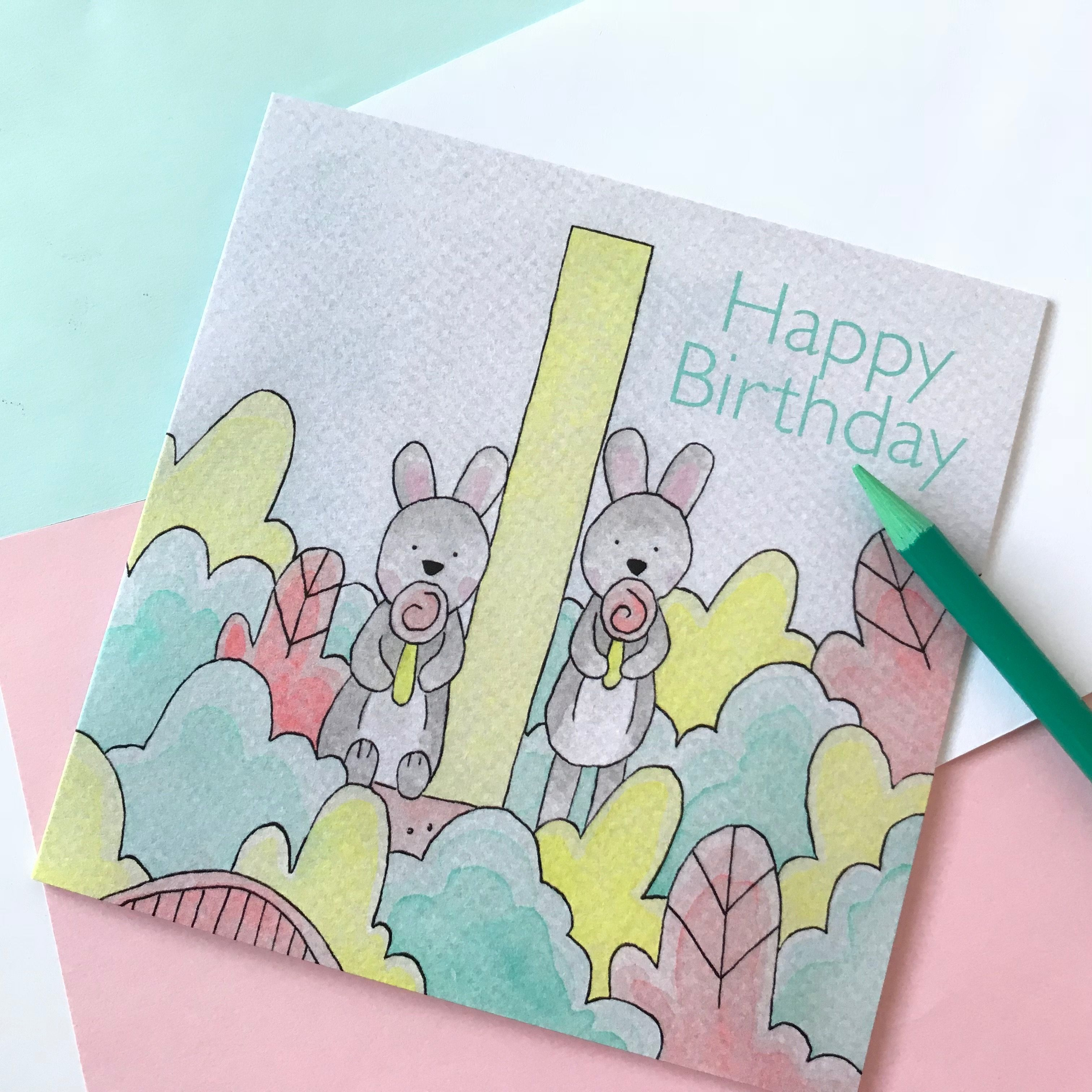 1st Birthday Card For Boys And Girls 2 50 Birthday Rabbits Watercolour Contemporary Blank Cards By Betwee 1st Birthday Cards Kids Birthday Cards Kids Cards