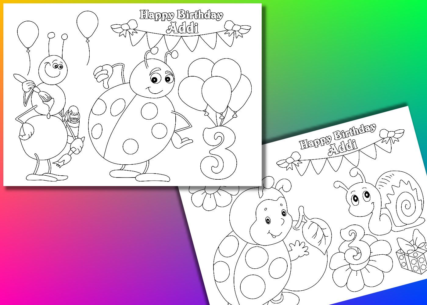 Lady Bug Birthday Party coloring pages, PDF file