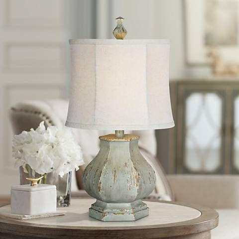 Forty west fiona distressed seafoam blue table lamp style 19n87 traditional woods and house