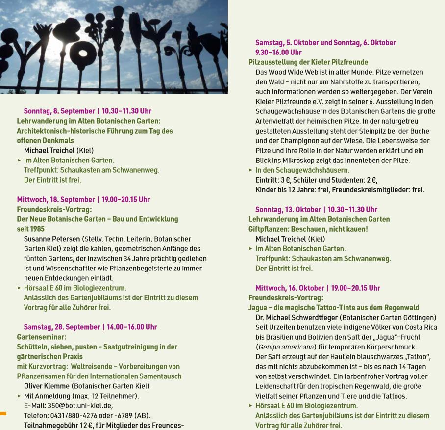 Die Veranstaltungen In September Und Oktober In 2019 Garten Oktober Und Pilze