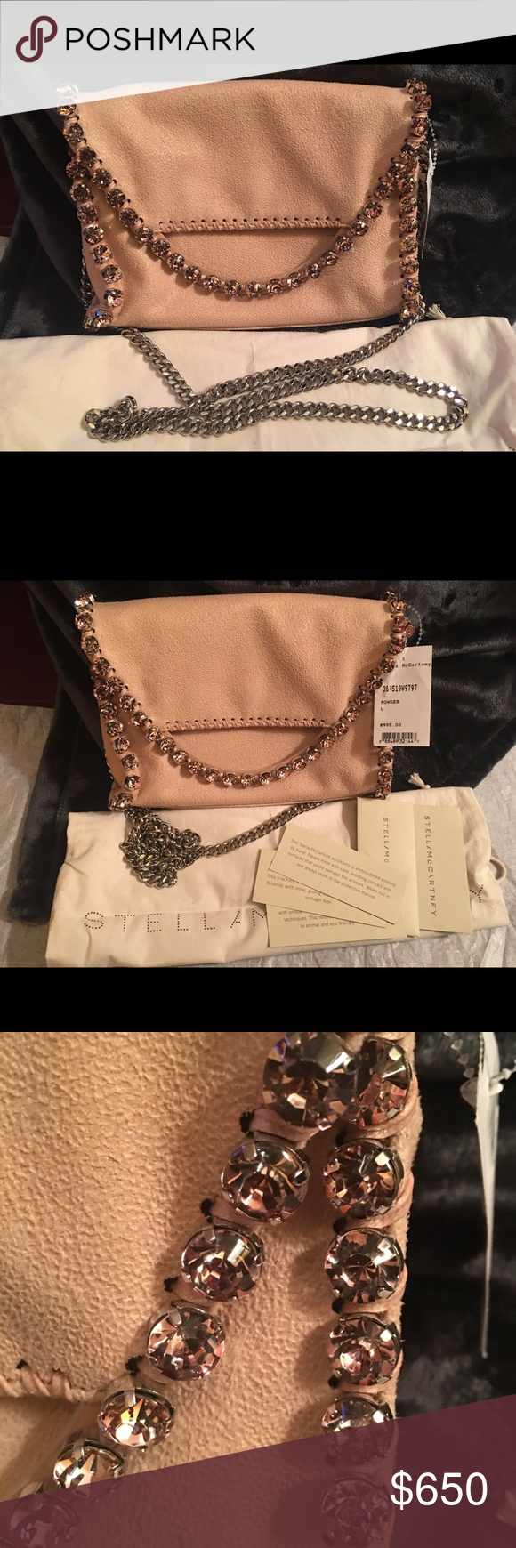 Mini Falabella in Powder Authentic Stella McCartney Shaggy Deer Rhinestone Mini Falabella.  Comes with dust bag and cards. Stella McCartney Bags Mini Bags