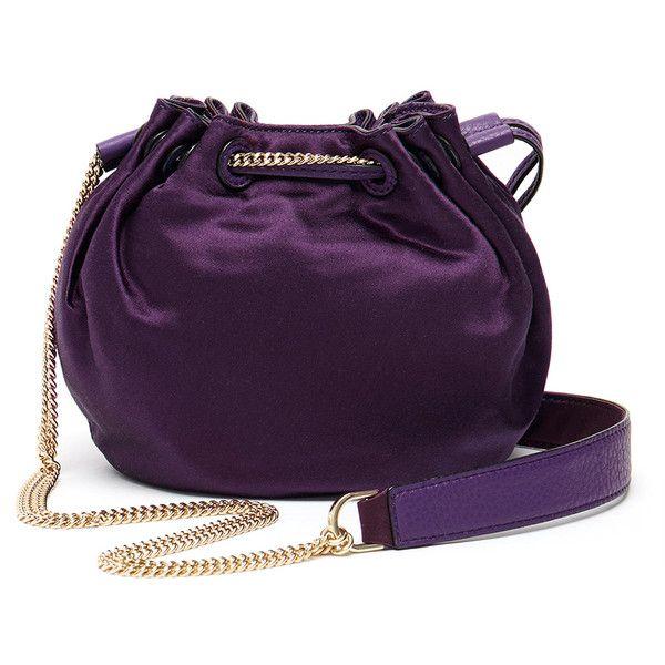 0e8cf40a78df Diane von Furstenberg Purple  Love Power  Satin Mini Drawstring Bucket... (