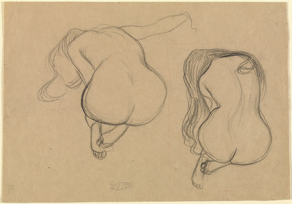"""""""Two Studies of a Seated Nude with Long Hair,"""" about 1901 - 1902, Gustav Klimt. http://bit.ly/1G0K0AK"""