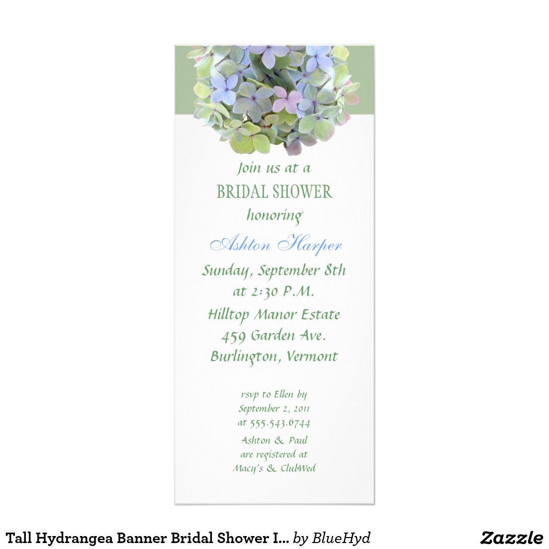 tall hydrangea banner bridal shower invitation shower invitations