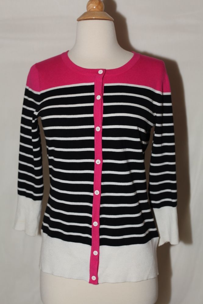 Cable Gauge Sz Xs Pink Black White Striped Dress Sweater Top Blouse