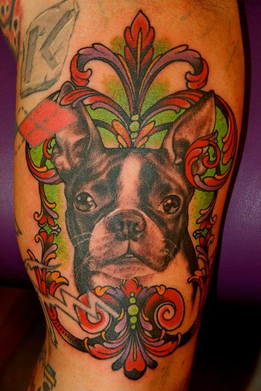 dermagraphique:    tattoosforpassionnotfashion:    done by adam barton    I got a few questions about good animal portraits a while back, so Ive been keeping an eye out for some to post. This one is pretty nice and fancy.