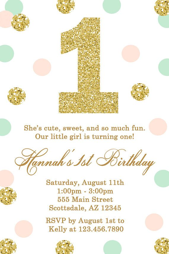 Mint Green Peach Pink Gold Polka Dot Birthday Party | First birthday ...